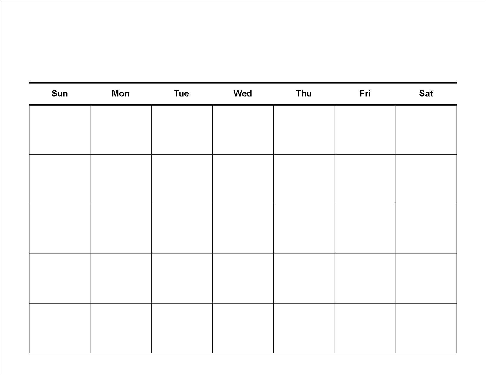 Perky 5 Day Blank Calendar Free • Printable Blank Calendar