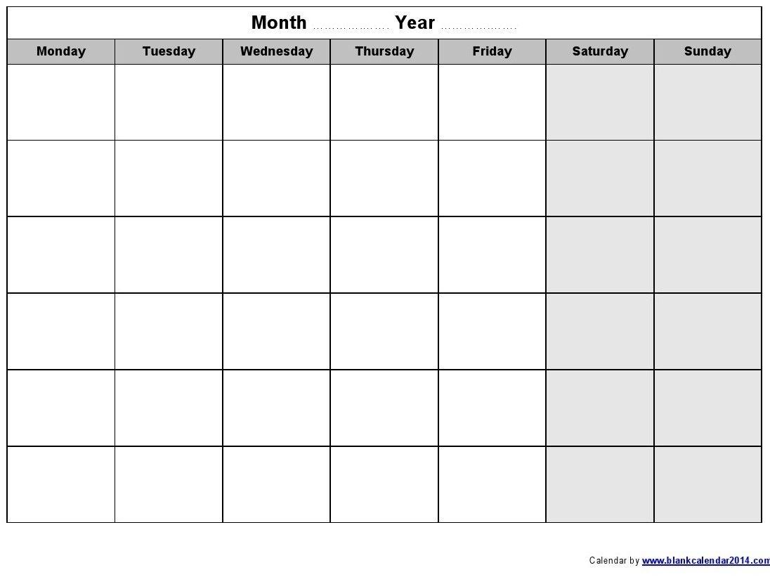 Perky Blank Calendar Monday Through Friday • Printable Blank