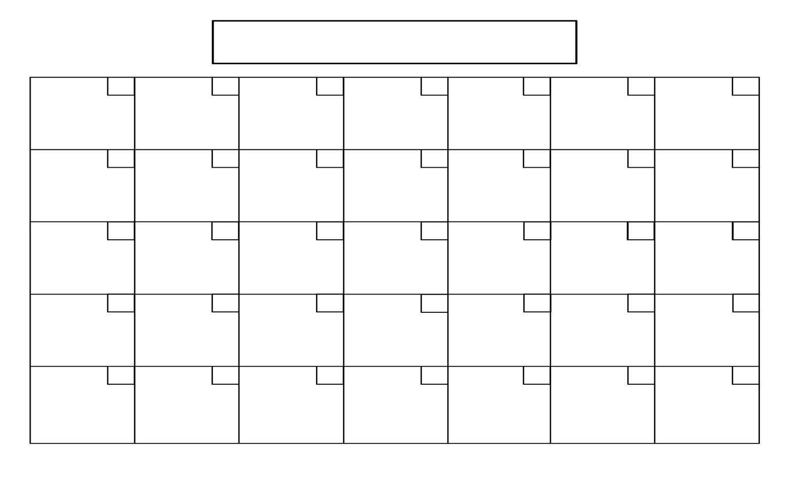 Perky Large Blank Calendar Grid • Printable Blank Calendar