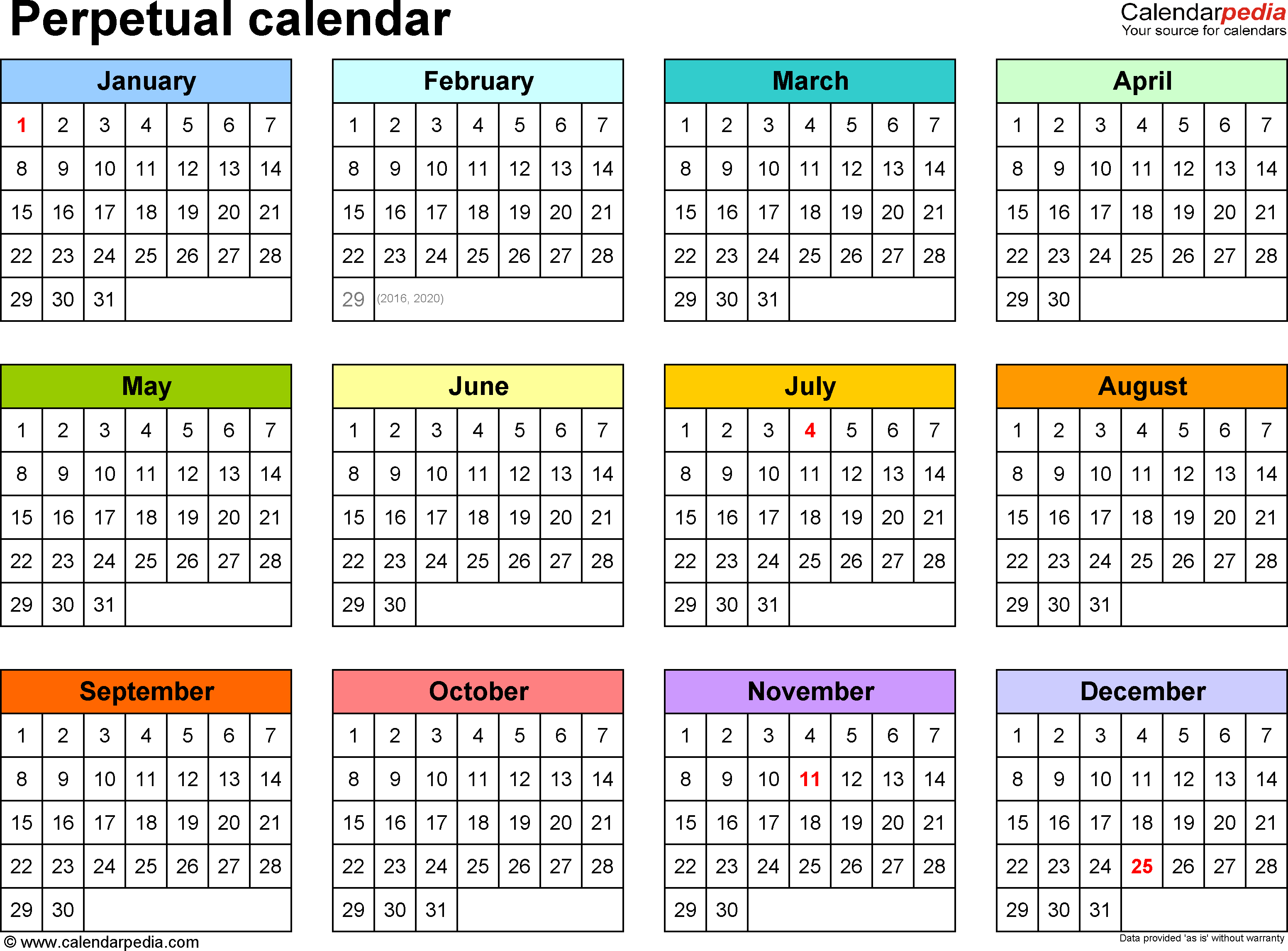 Perpetual Calendars - 7 Free Printable Excel Templates