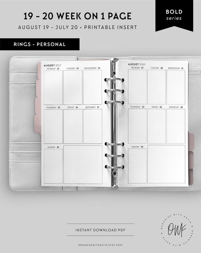 Personal 2019-2020 Weekly Planner Printable, Vertical Week On 1 Page,  Calendar, Diary, Filofax Inserts, Weekly Diary, 2019 2020 | Bo-Pers