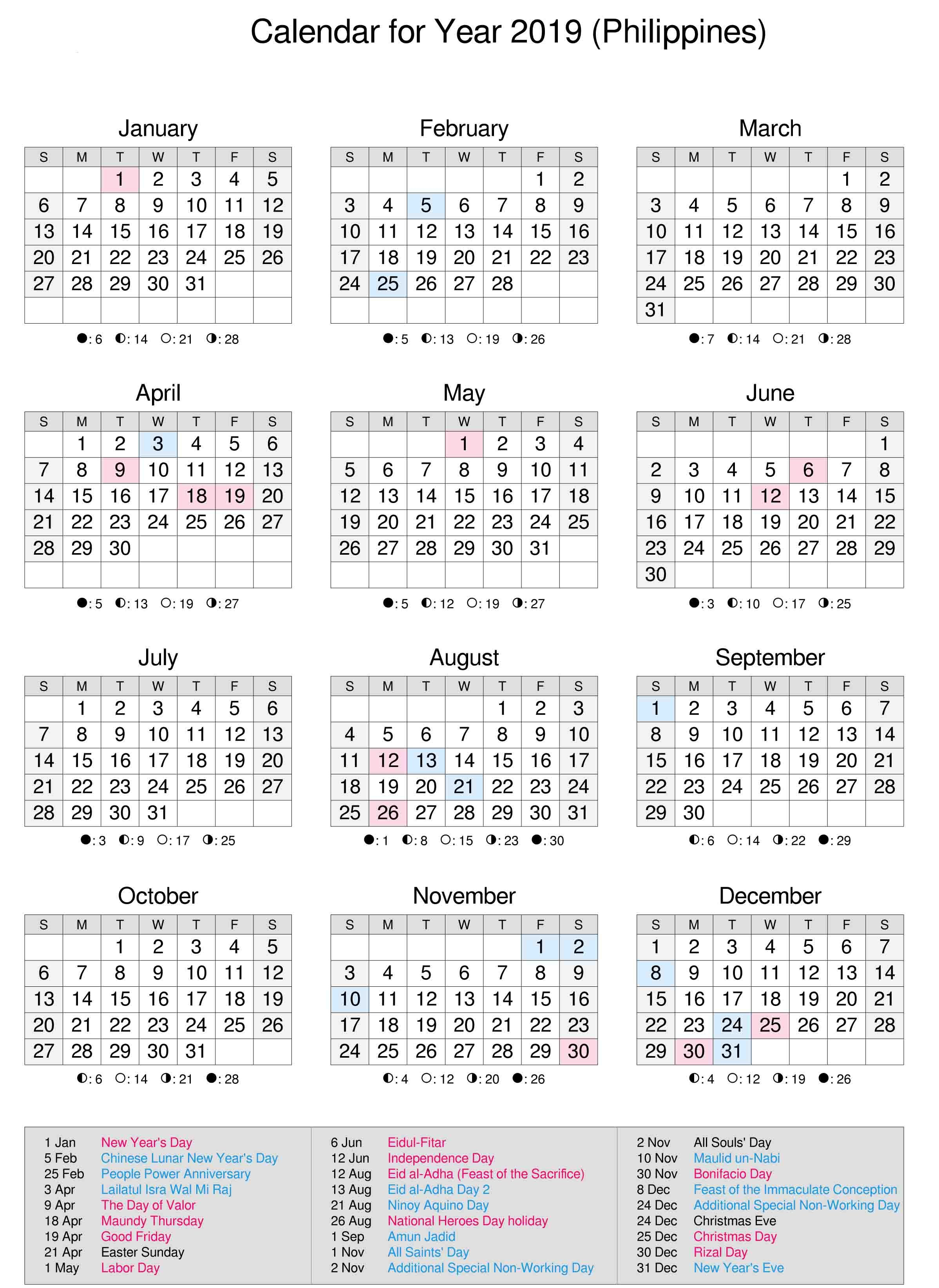 Philippines 2019 Calendar   Calendar 2019   2019 Calendar