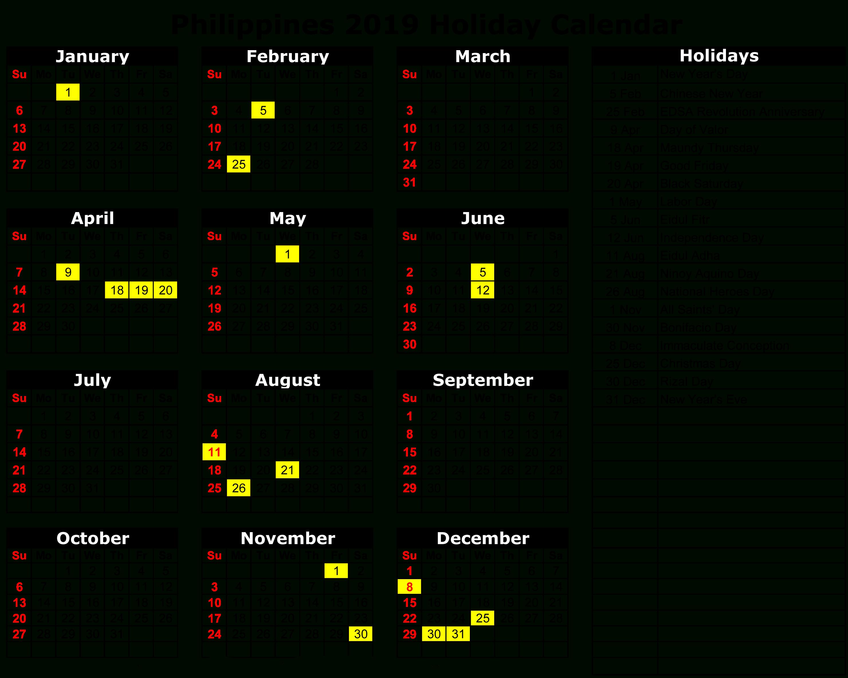 Philippines 2019 Holiday Calendar | Calendar 2019 | Holiday