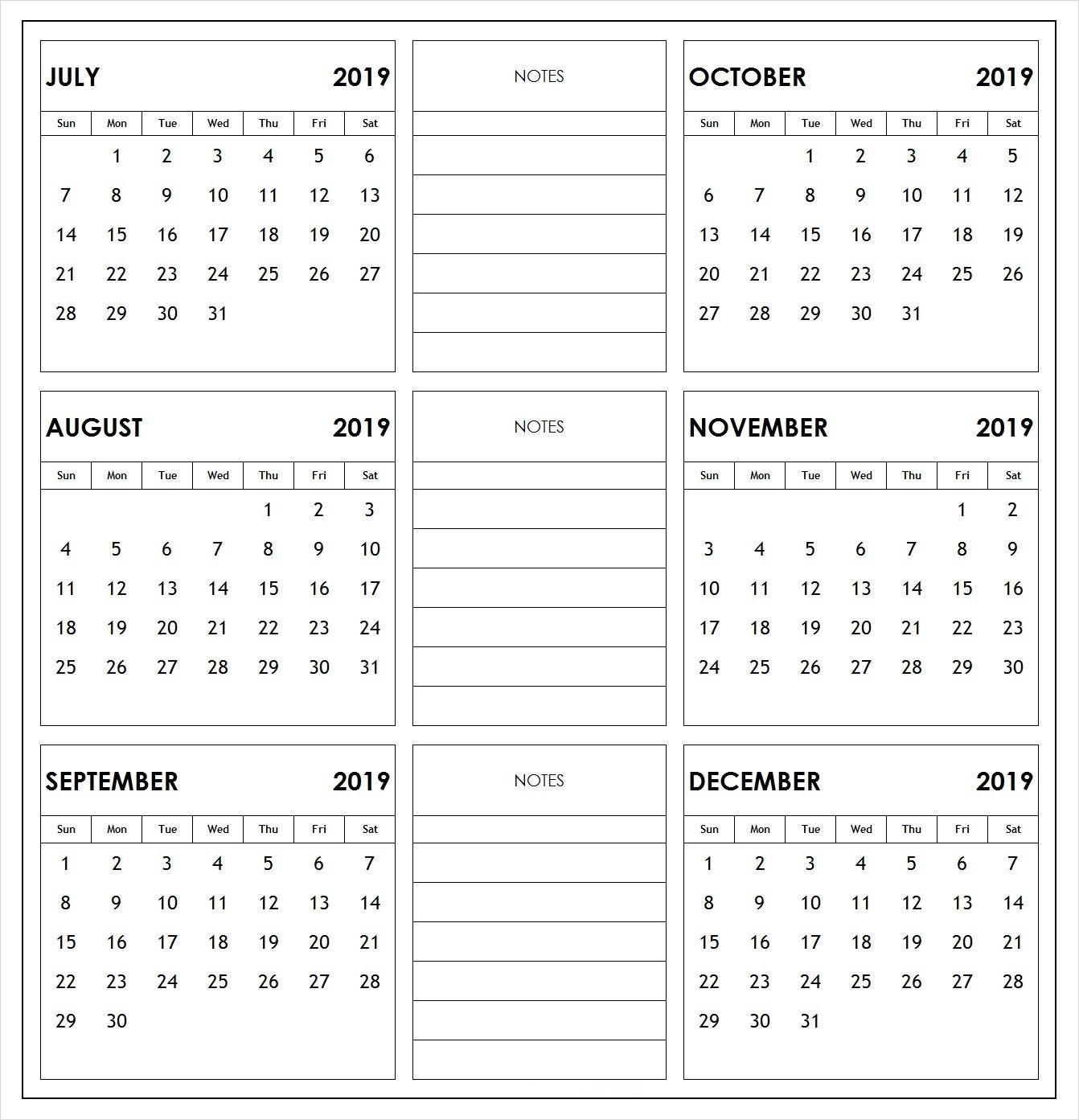 Pick 2019 Calendar July To December ⋆ The Best Printable