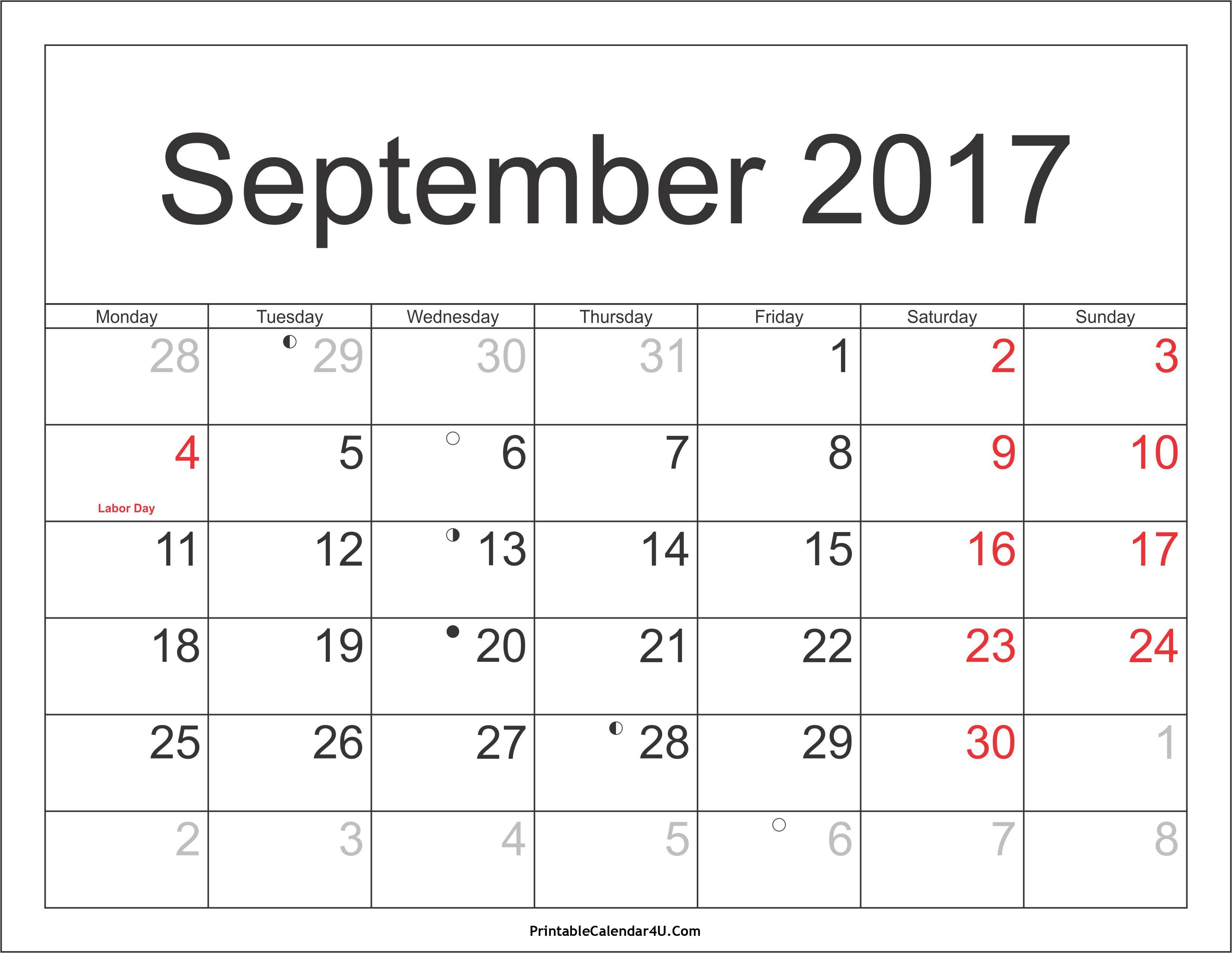 Pincalendar Printable On September 2017 Calendar