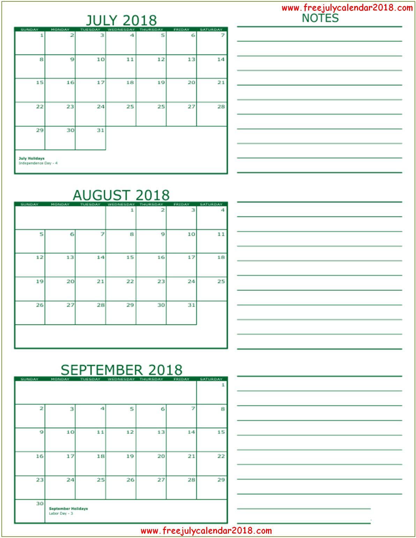 Pinmonthly Calendar On July August 2018 Calendar | 3