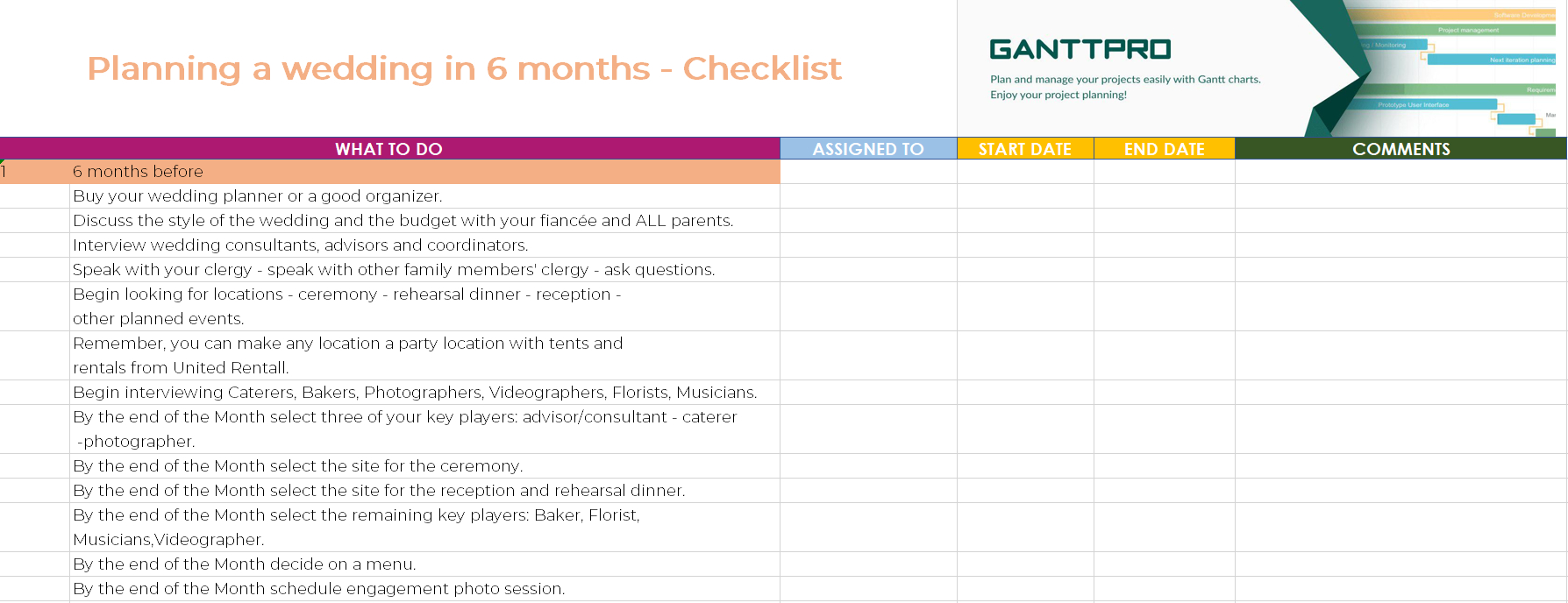 Planning A Wedding In 6 Months Checklist | Excel Template