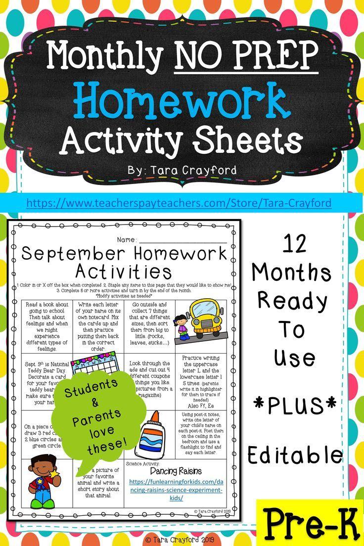 Pre-K Monthly Homework Activity Sheets | Tpt Preschool