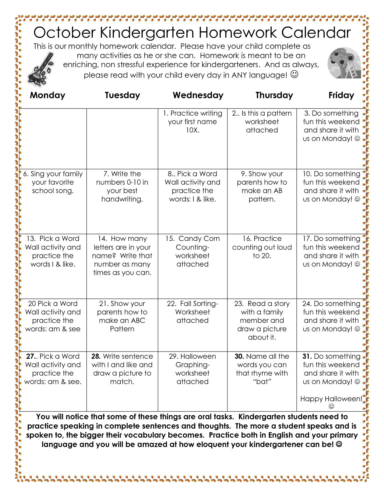Pre-K Monthly Homework Calendar • Printable Blank Calendar