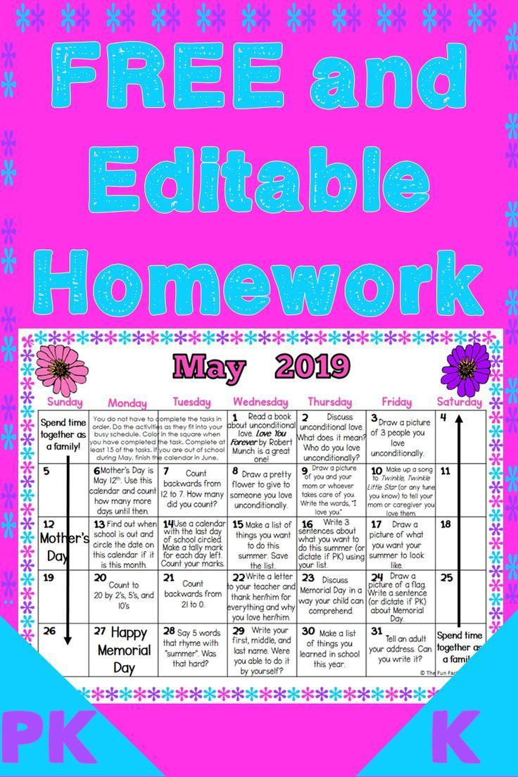 Preschool And Kindergarten Monthly Homework Calendars Are