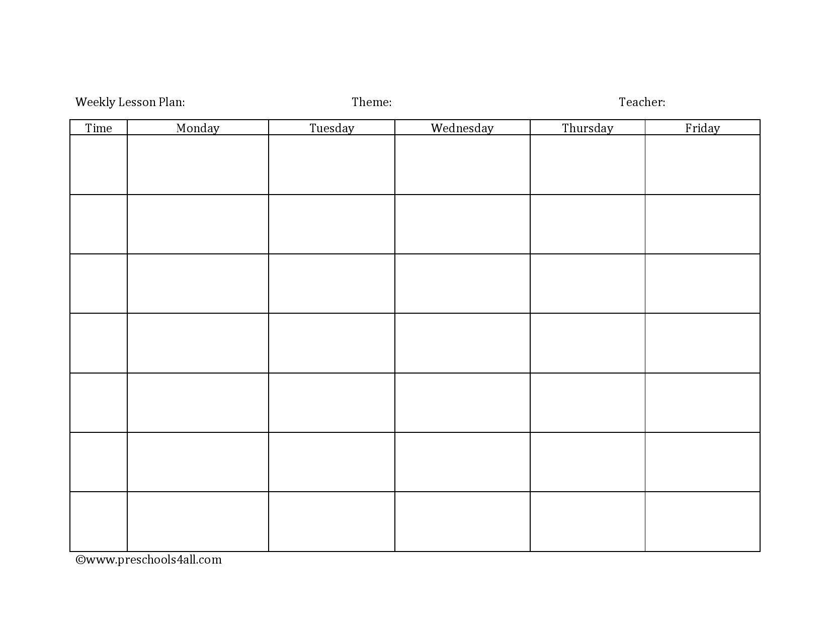 Preschool Lesson Plan Template - Lesson Plan Book Template