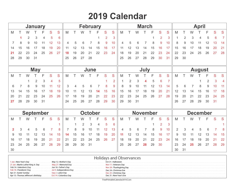 Presidents Day 2020 Calendar
