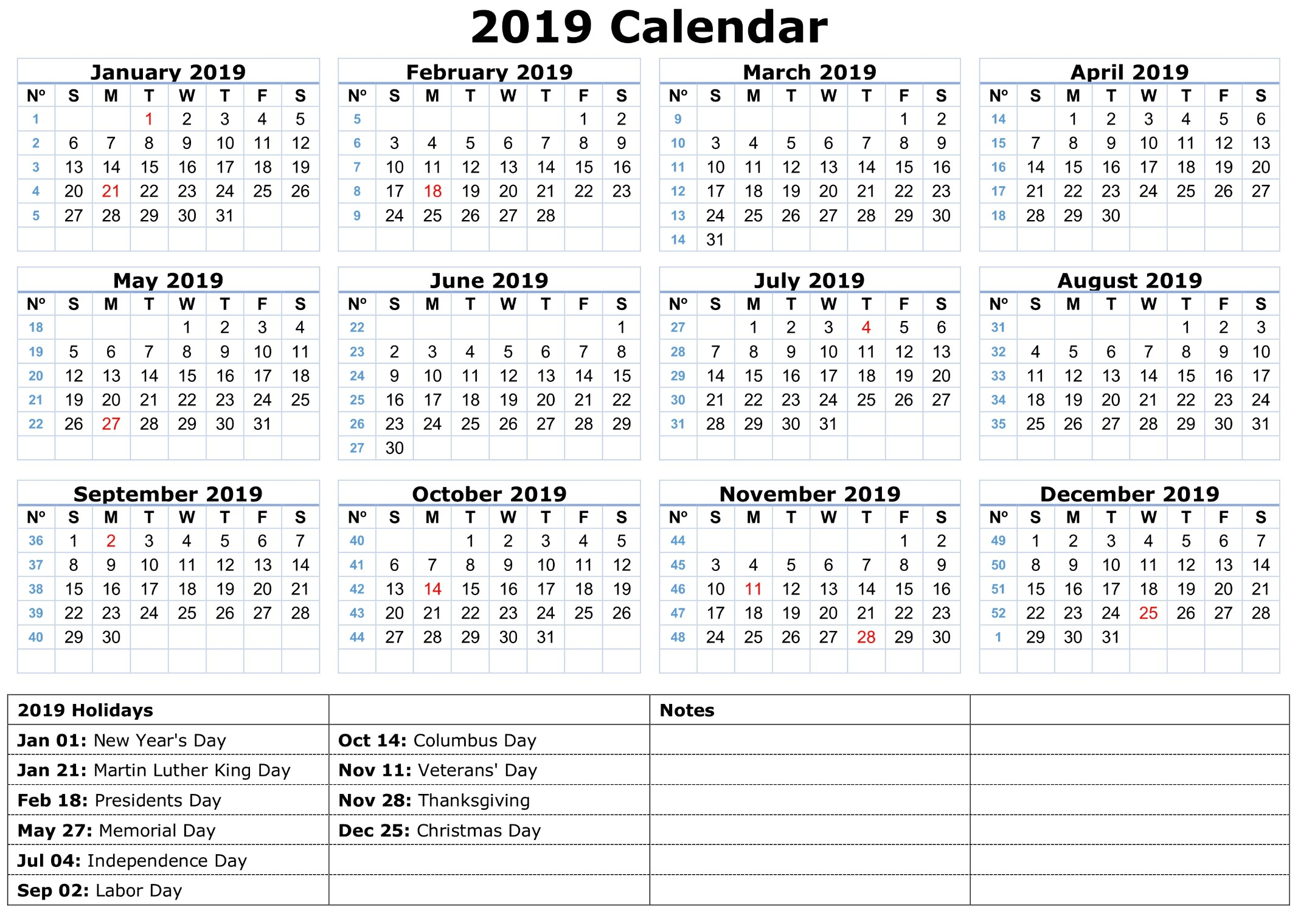 Presidents Day 2020 Calendar