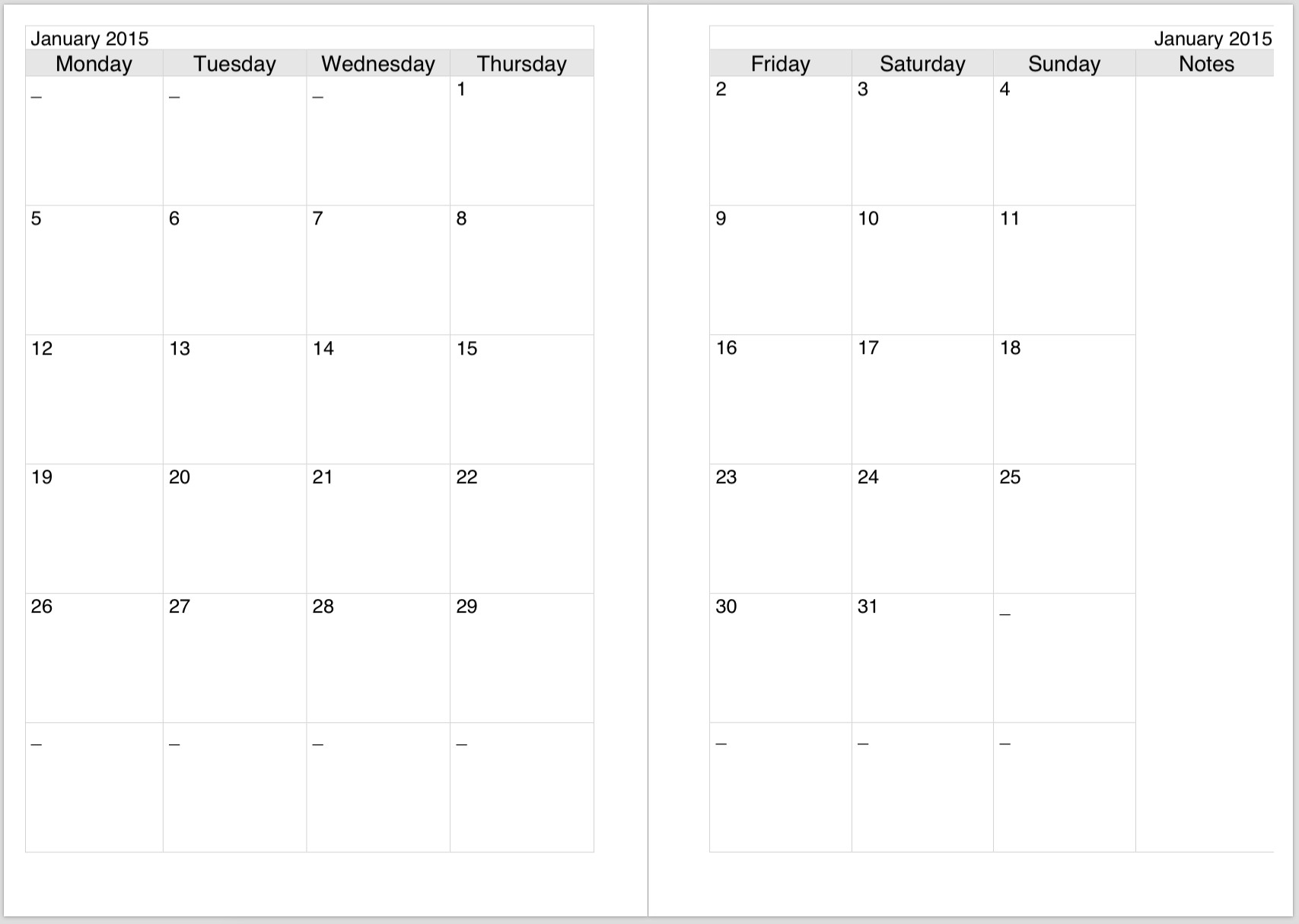 Preview2 For Two Page Monthly Calendar Template - Free