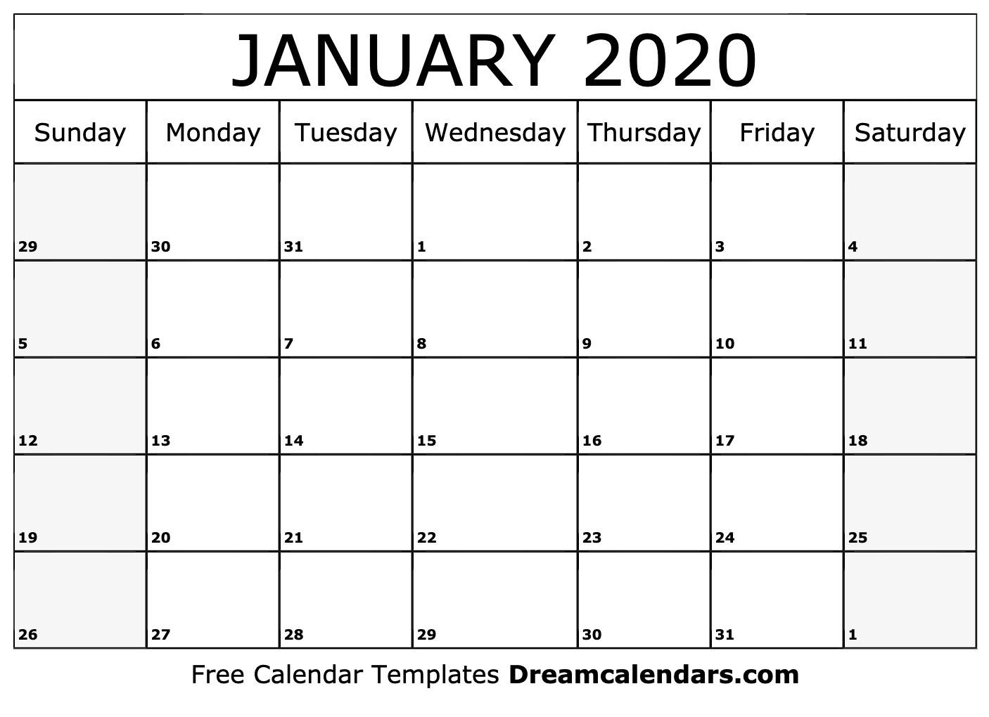 Prime January 15 2020 Calander * Calendar Template Fillable