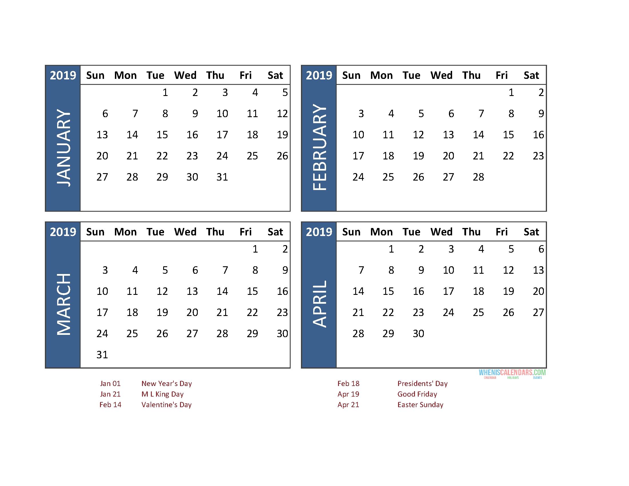 Print 4 Month Calendar One Page • Printable Blank Calendar