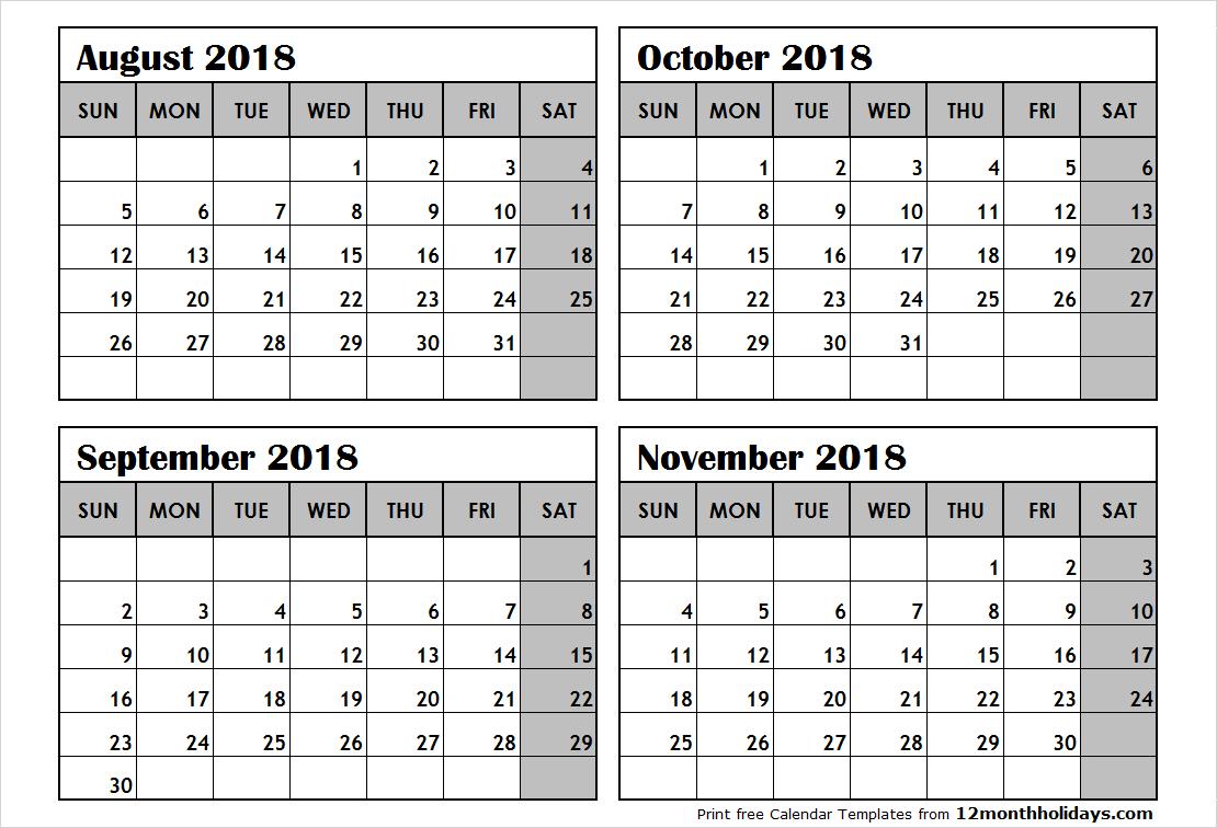 Print August To November 2018 Calendar Template   4 Month