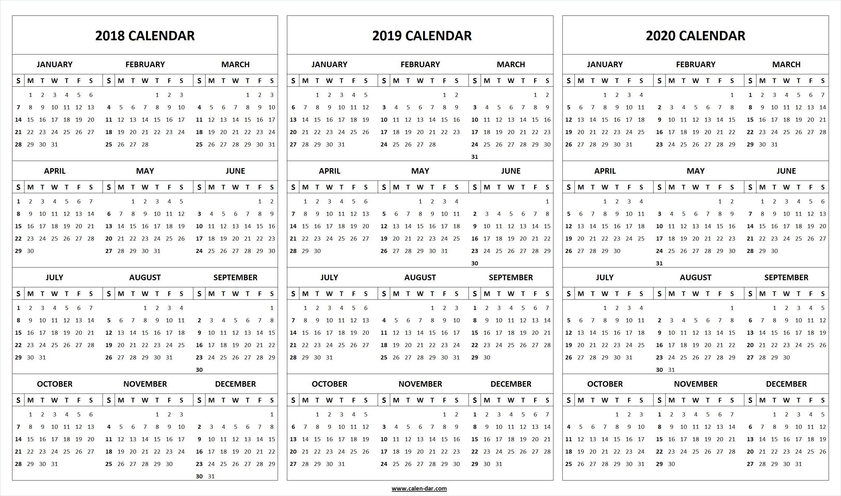 Print Blank 2018 2019 2020 Calendar Template | Organize