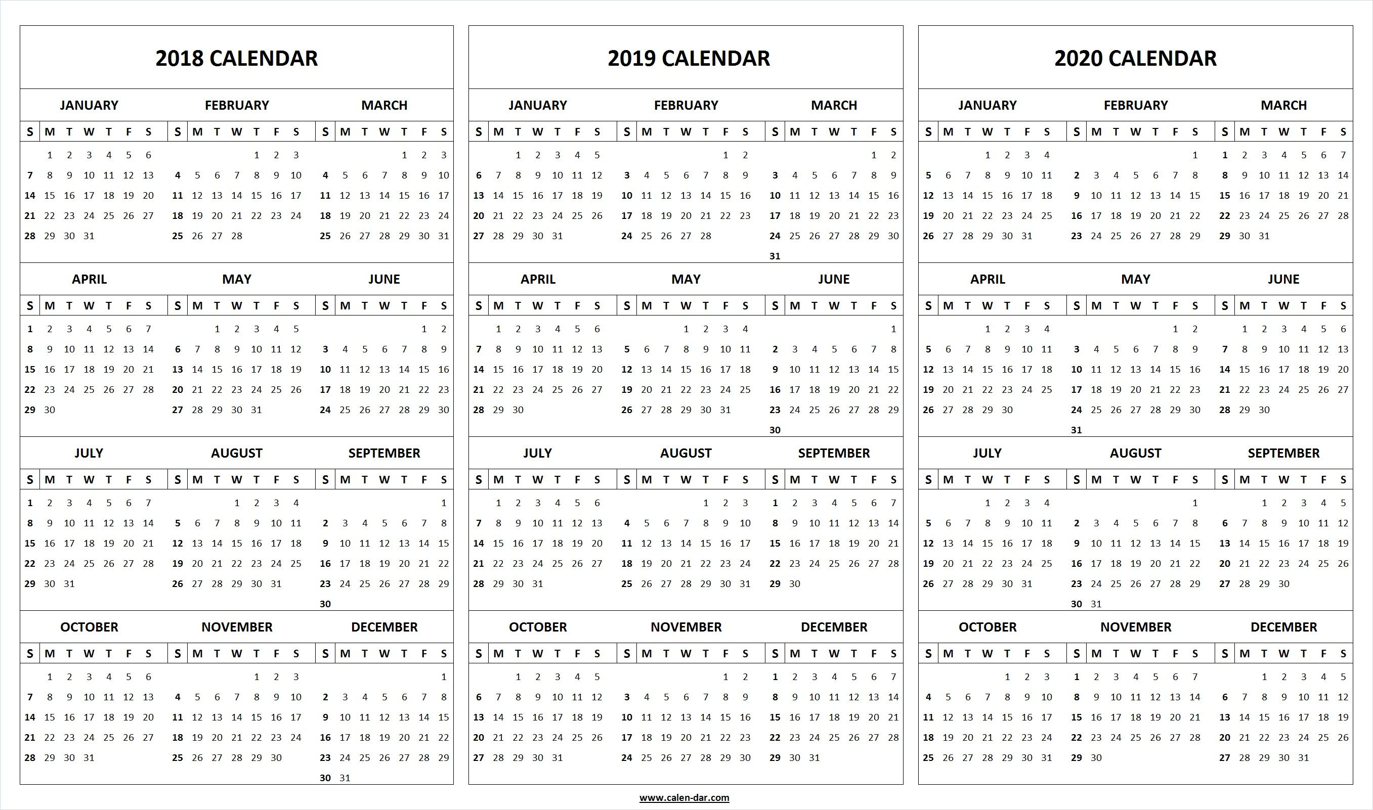 Print Blank 2018 2019 2020 Calendar Template   Organize