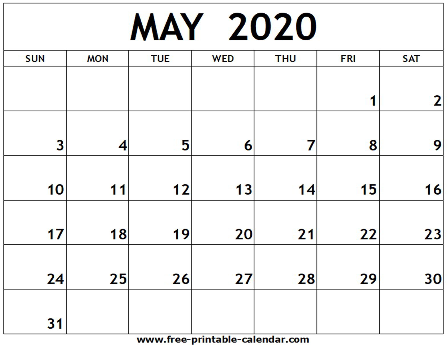 Print Calendar 2020