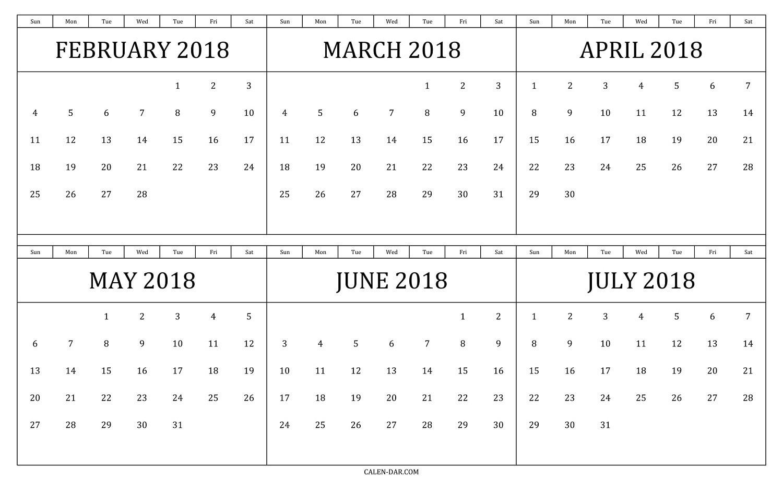 Print Calendar 6 Months • Printable Blank Calendar Template
