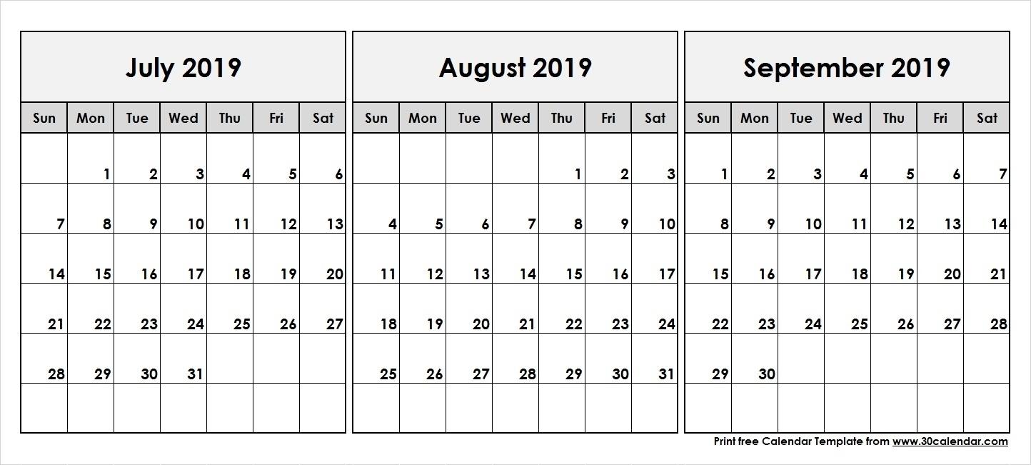 Print Calendar July August September 2019 | Ten Free