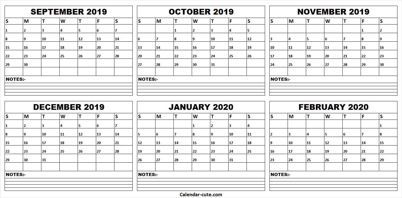 Print Calendar September 2019 To February 2020   Monthly