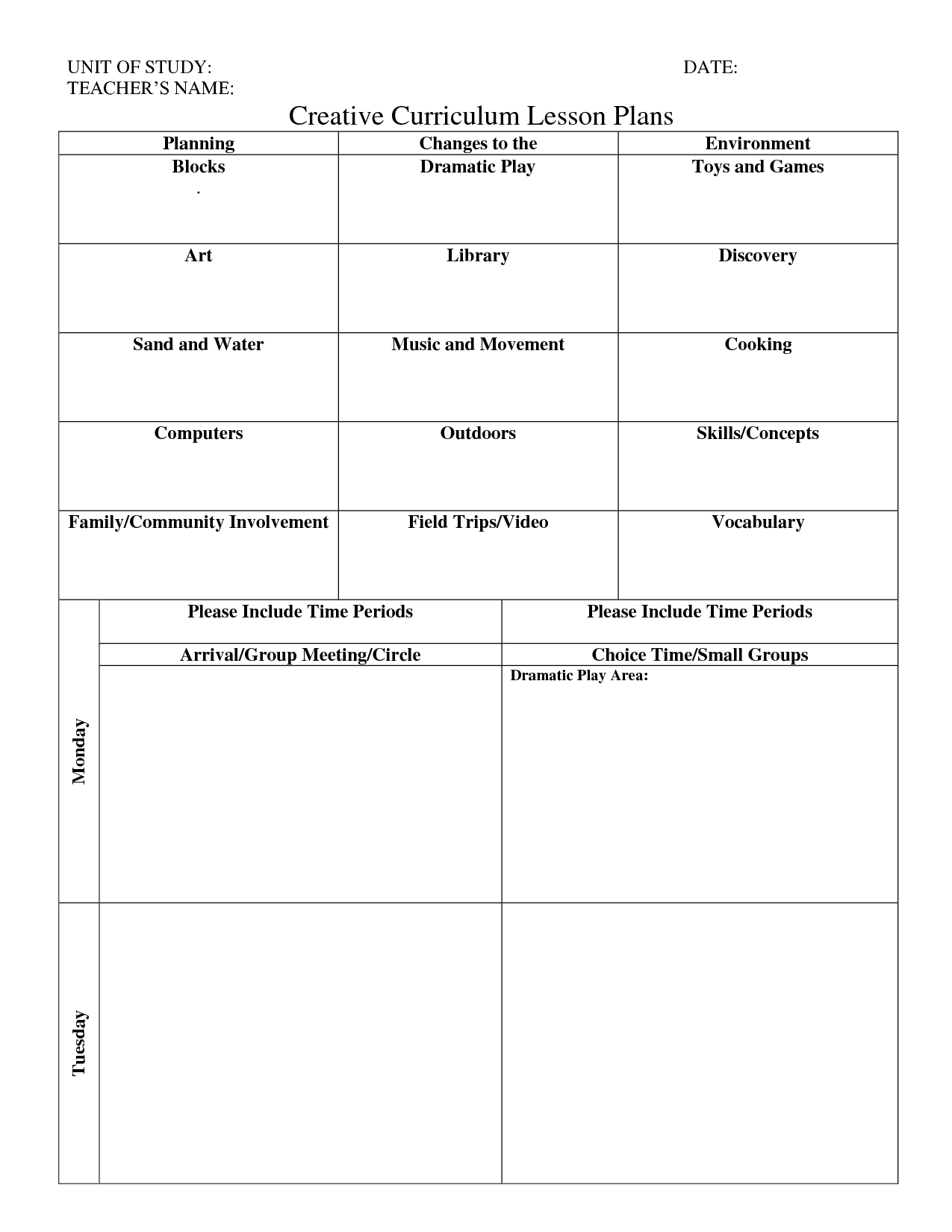 Print Creative Curriculum Lesson Plan - Bing Images