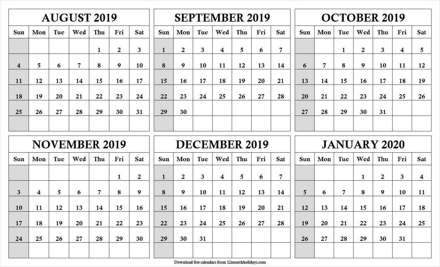 Print Free 6 Month Calendar August 2019 To January 2020 With