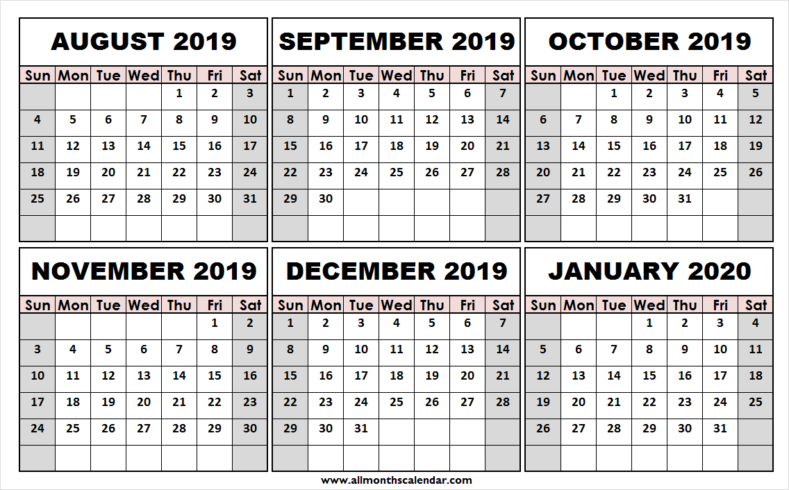Print Free August 2019 January 2020 Calendar | Template To Print
