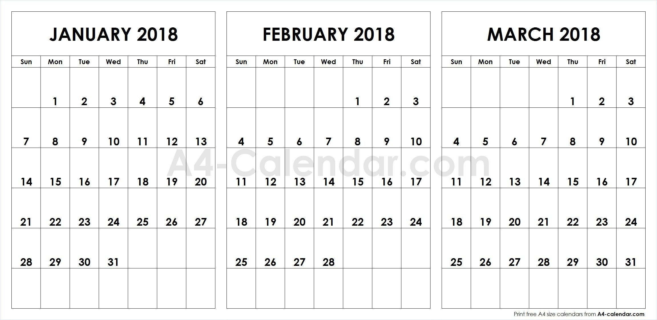 Print Free Blank January February March 2018 A4 Calendar