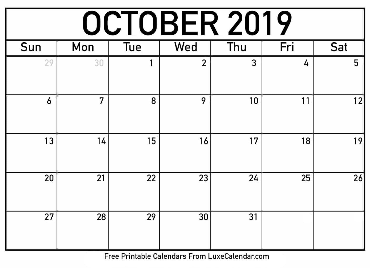 Print Free Calendars Without Downloading 2019 October