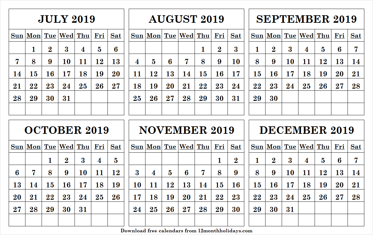 Print Free July December 2019 Calendar Online With Notes
