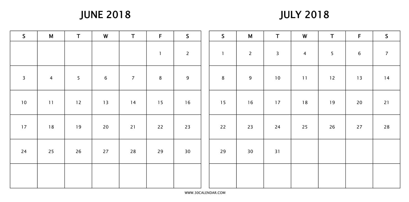 Print Free Two Month Calendar 2018 June July With Holidays