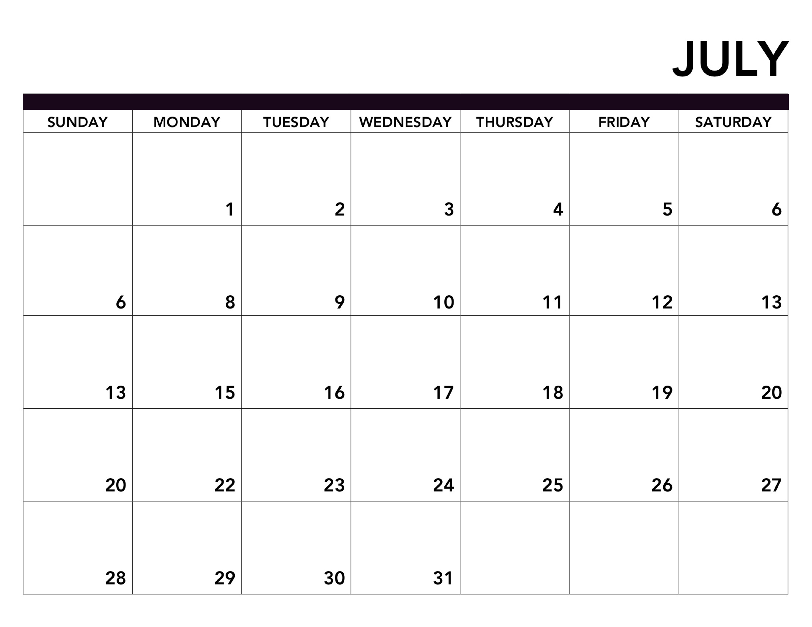 Print July 2019 Calendar Page With Blank Template