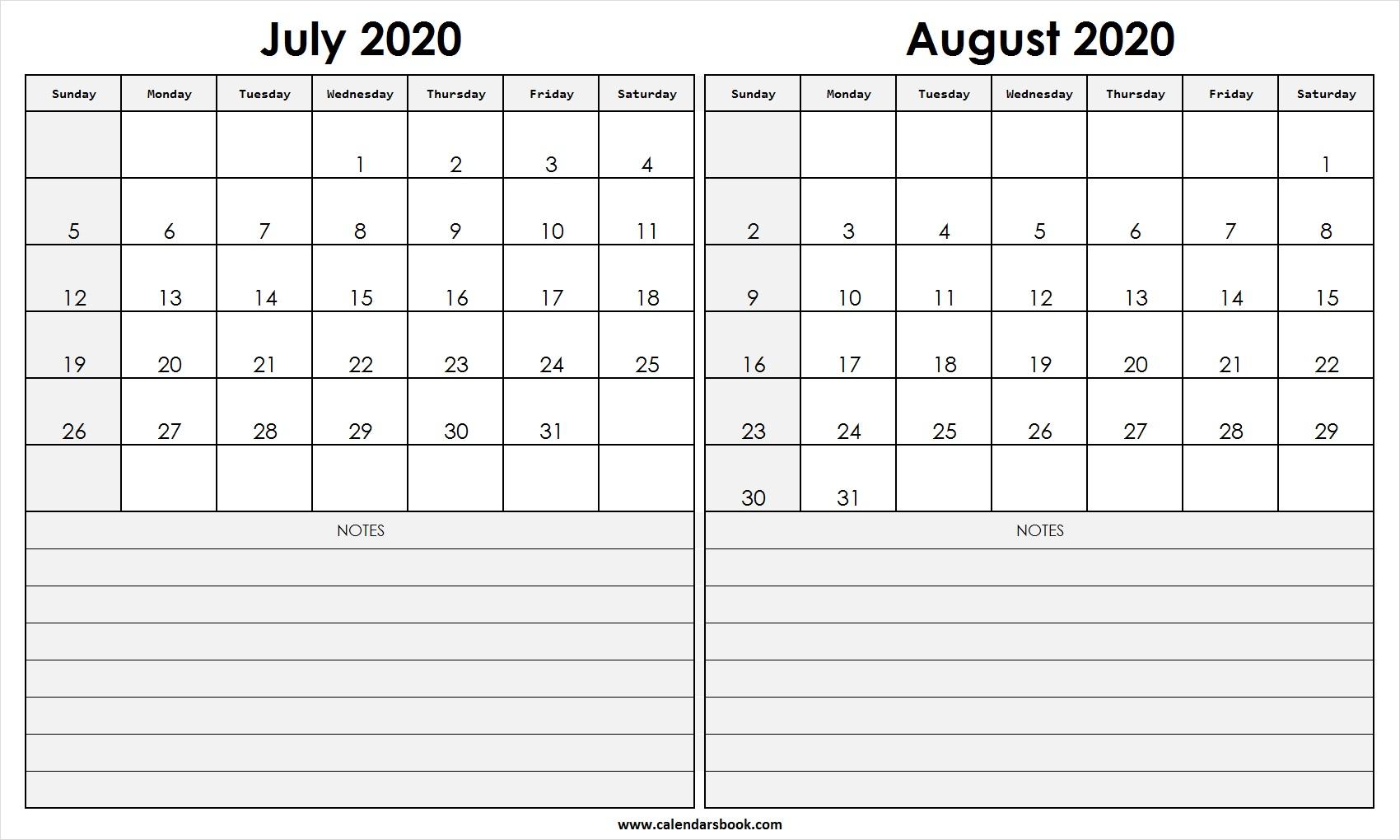 Print July August 2020 Calendar Template | 2 Month Calendar