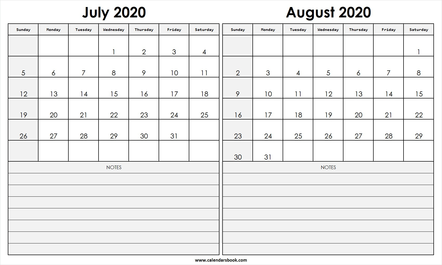 Print July August 2020 Calendar Template | 2 Month Calendar