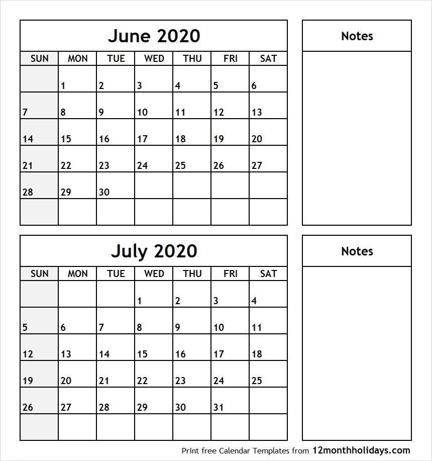 Print June July 2020 Calendar Template | 2 Month Calendar
