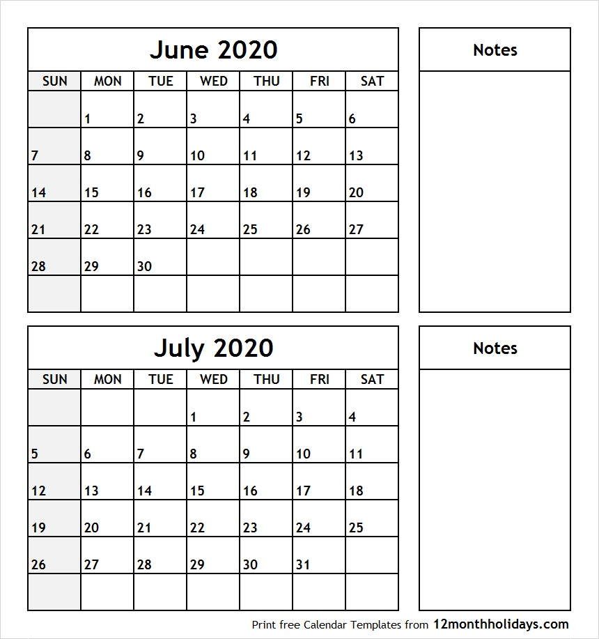 Print June July 2020 Calendar Template | 2 Month Calendar
