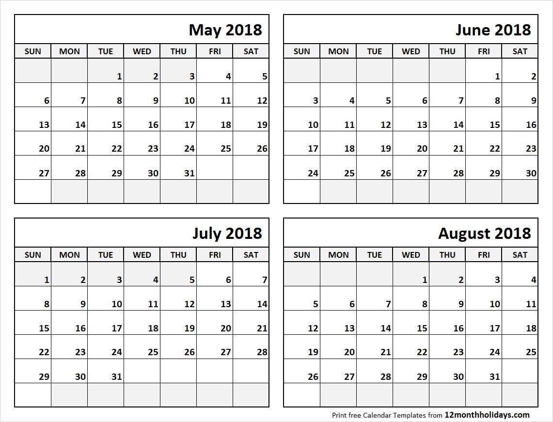 Print May To August 2018 Calendar Template   4 Month Calendar