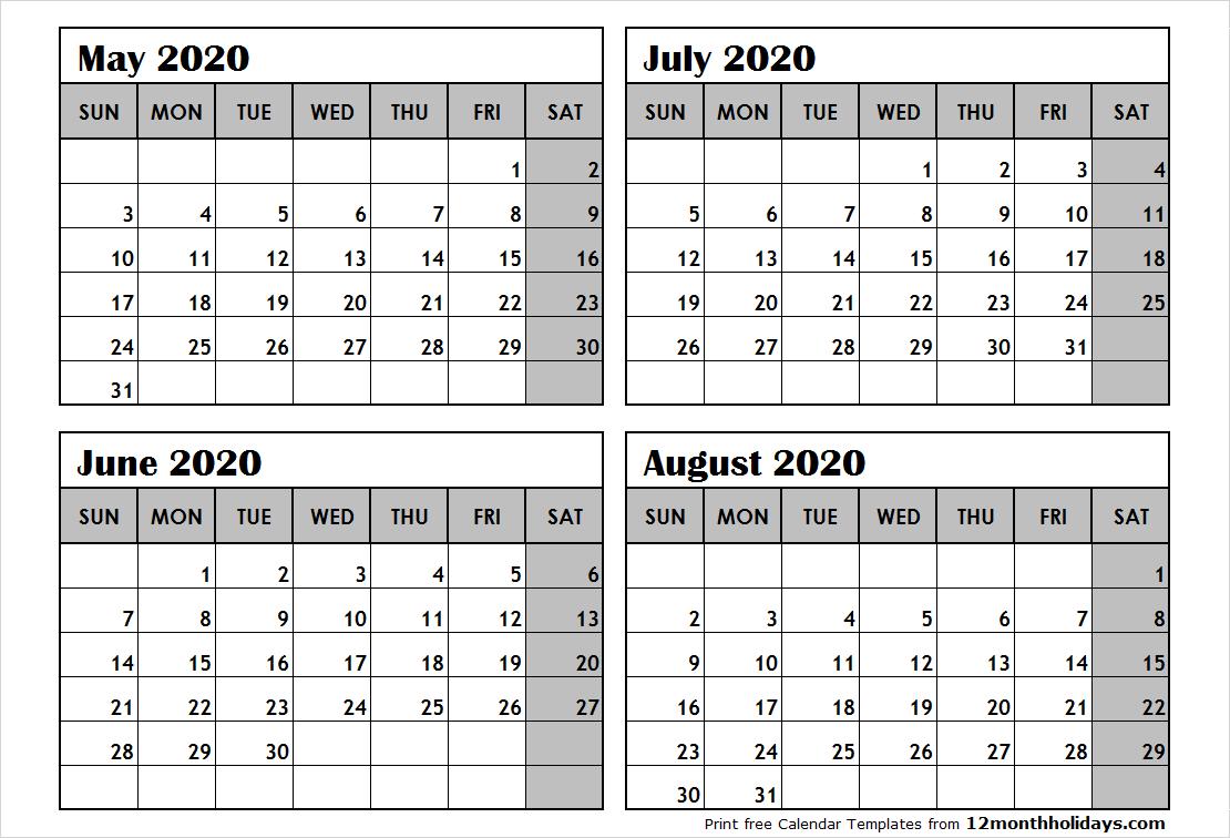 Print May To August 2020 Calendar Template | 4 Month Calendar