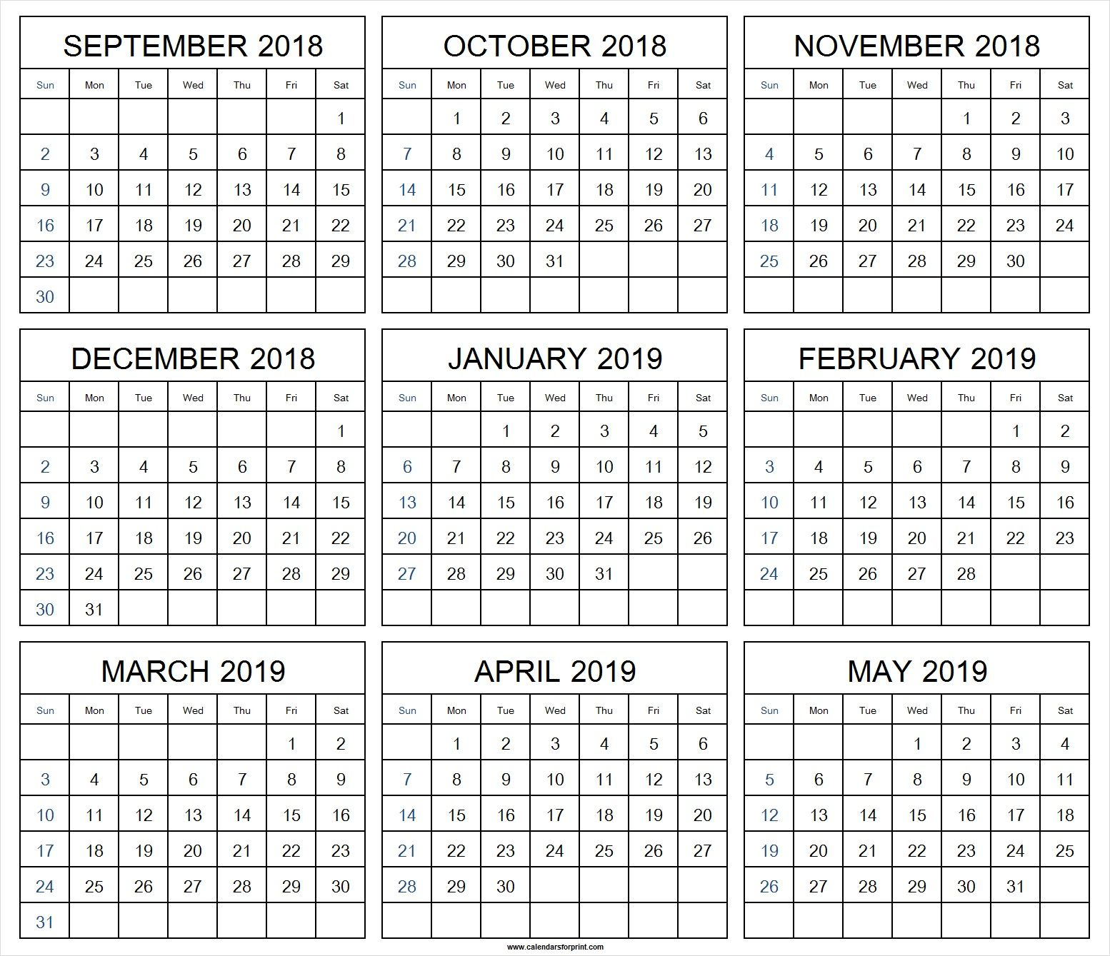 Print Monthly Calendar September 2018 May 2019 | September