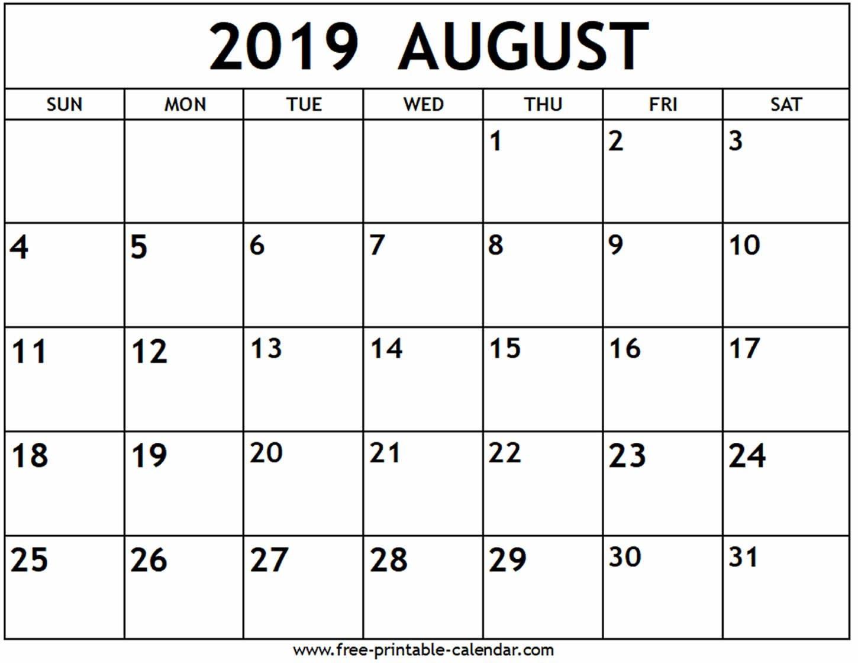 Print Out Calendar August 2019 | Calendar Format Example
