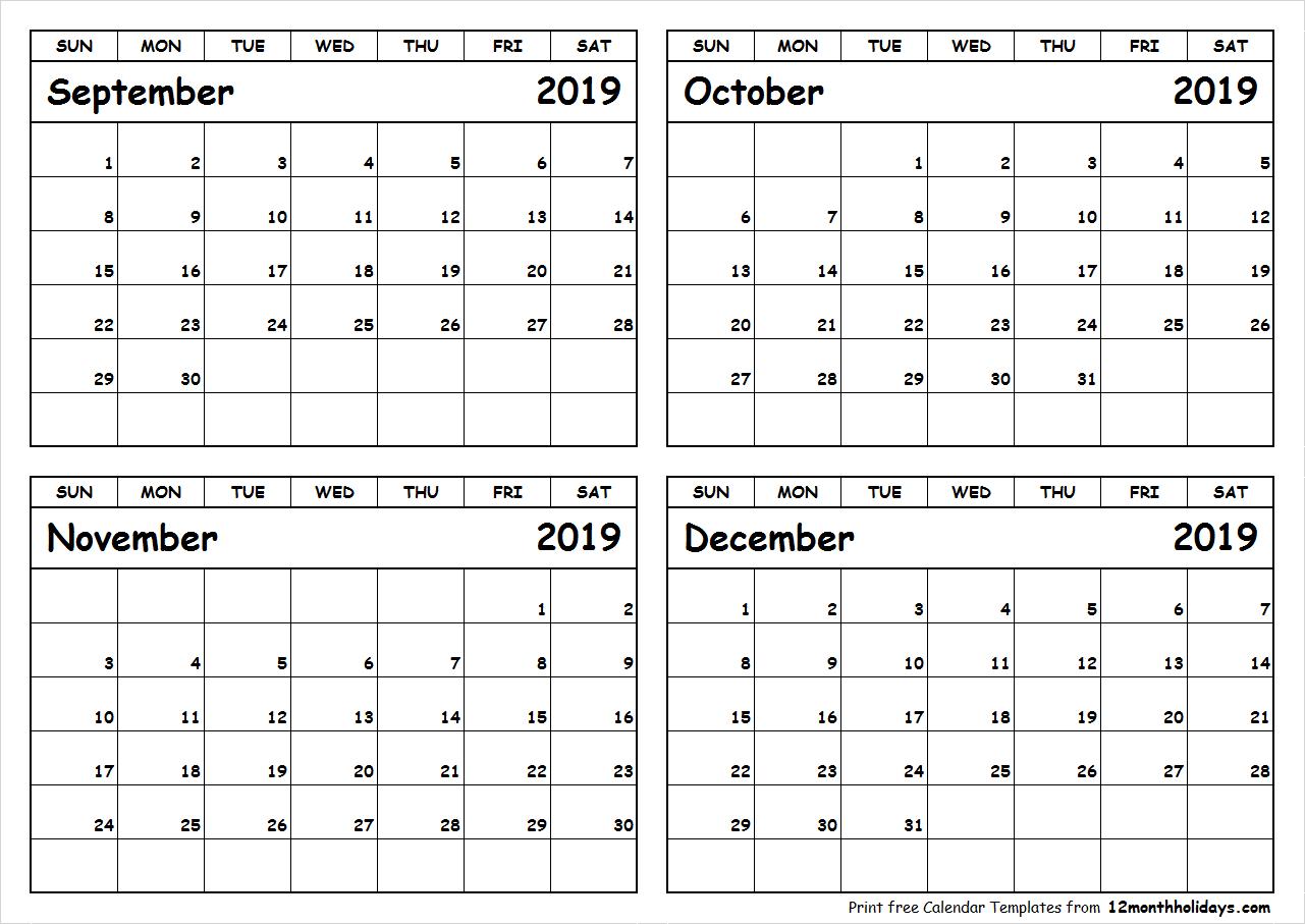 Print September To December 2019 Calendar Template | 4 Month