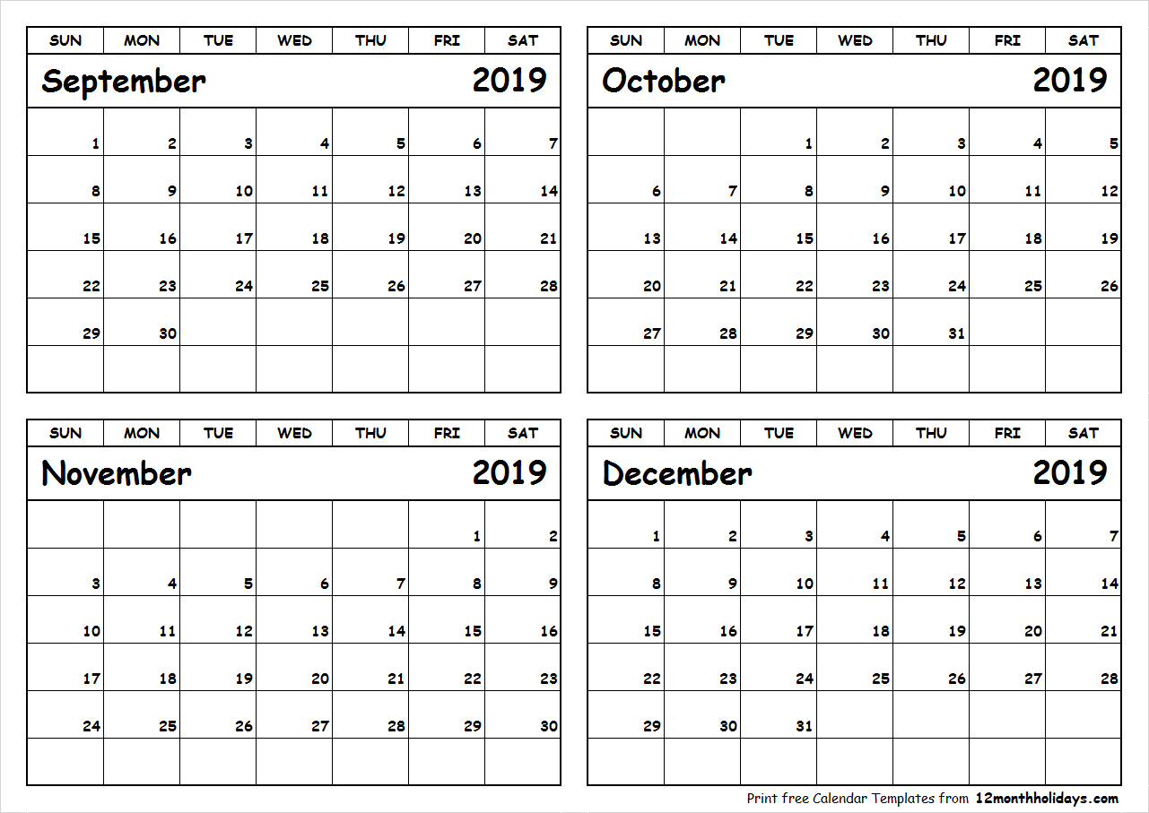 Print September To December 2019 Calendar Template | 4 Month