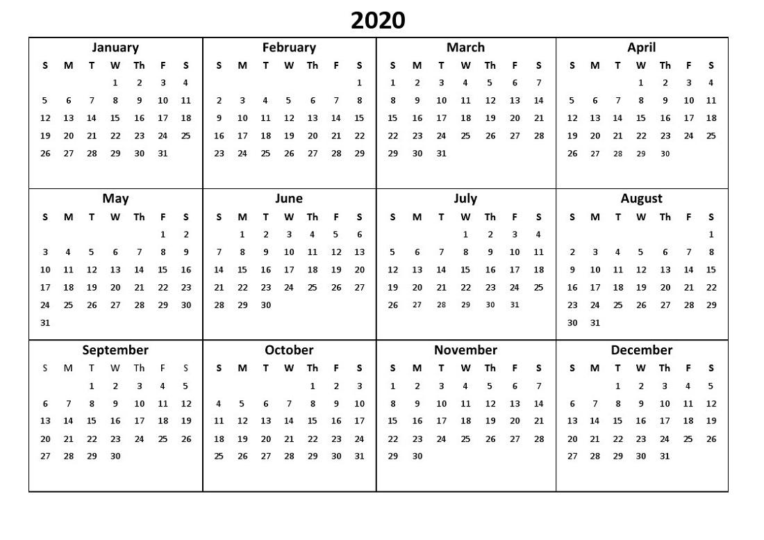 Printable 12 Month Calendar 2020 Various Size | Calendar Shelter