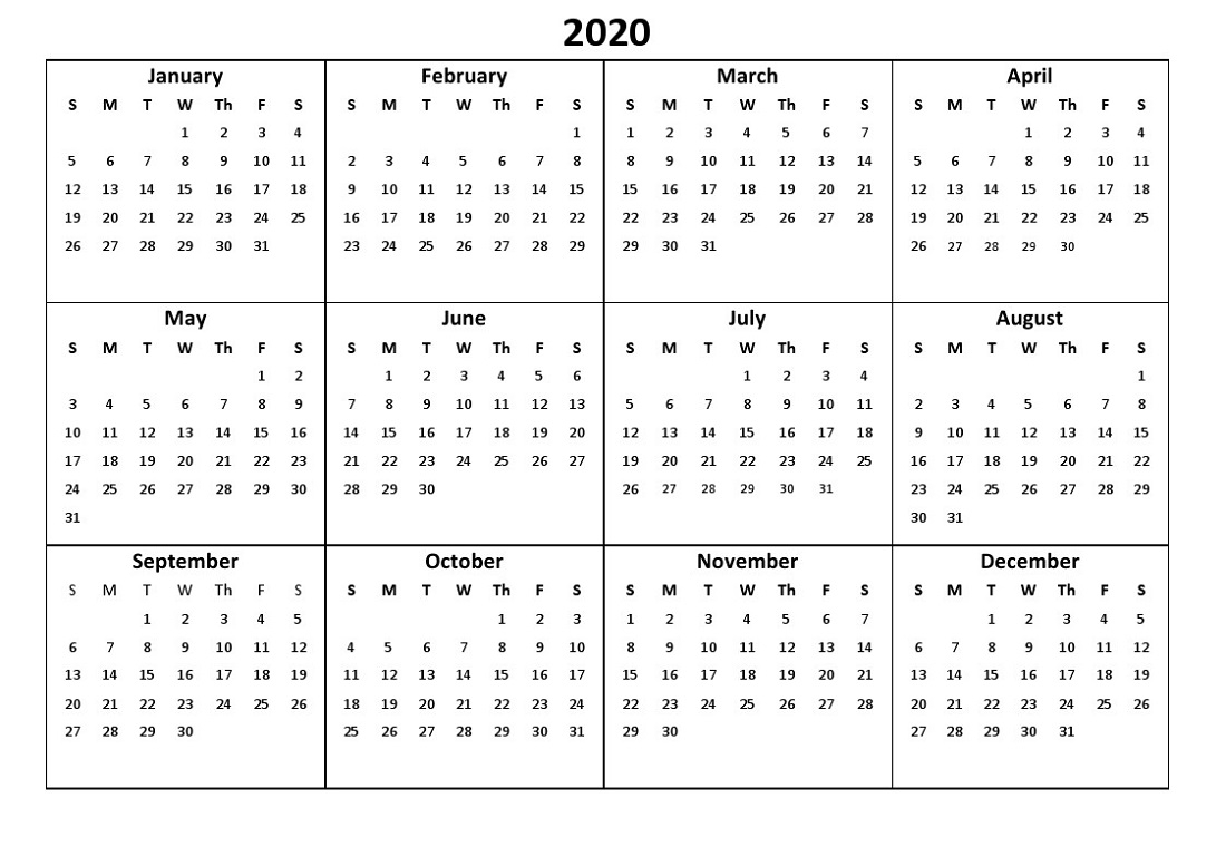 Printable 12 Month Calendar 2020 Various Size   Calendar Shelter
