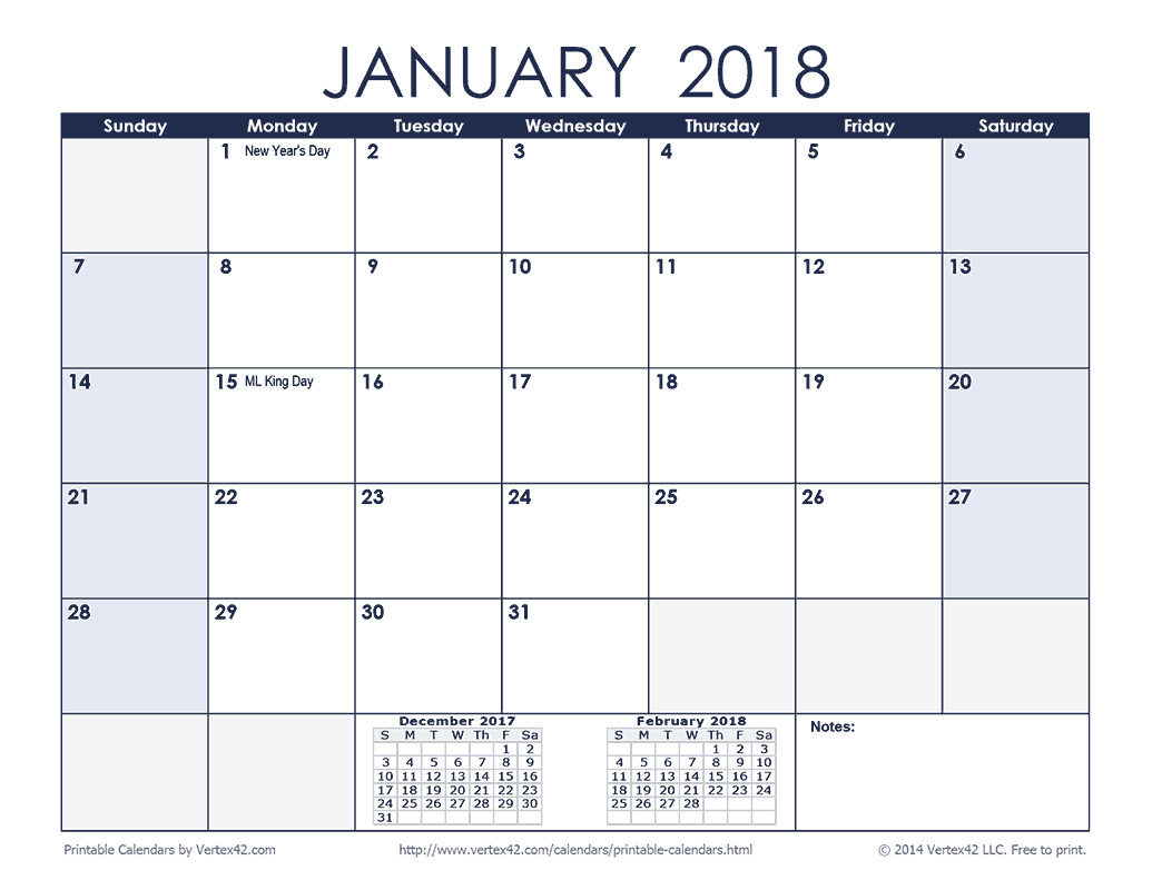 Printable 2018 Calendar Month View | Printable Calendar 2019