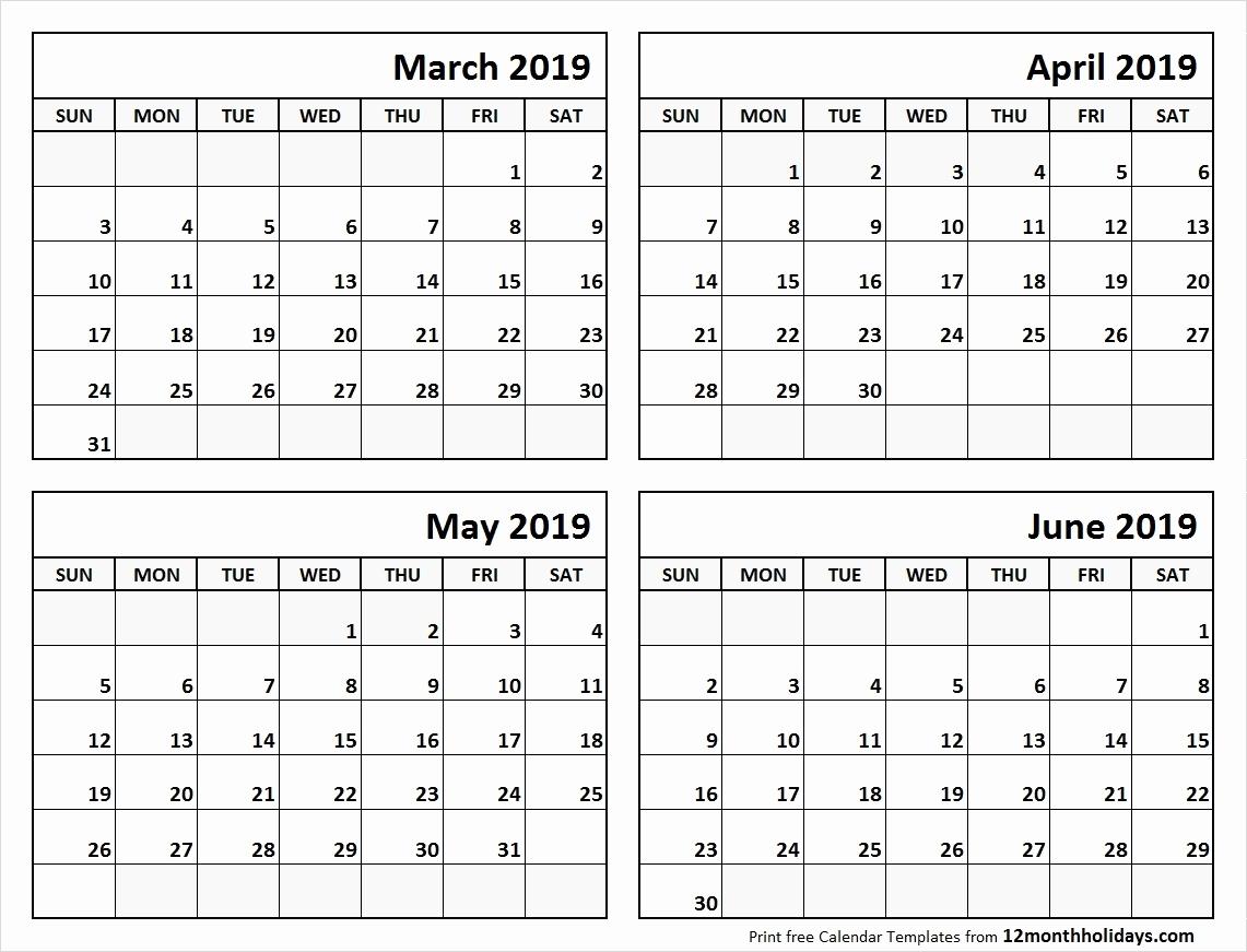 Printable 2019 Calendar 4 Months Per Pge 2019 Calendar