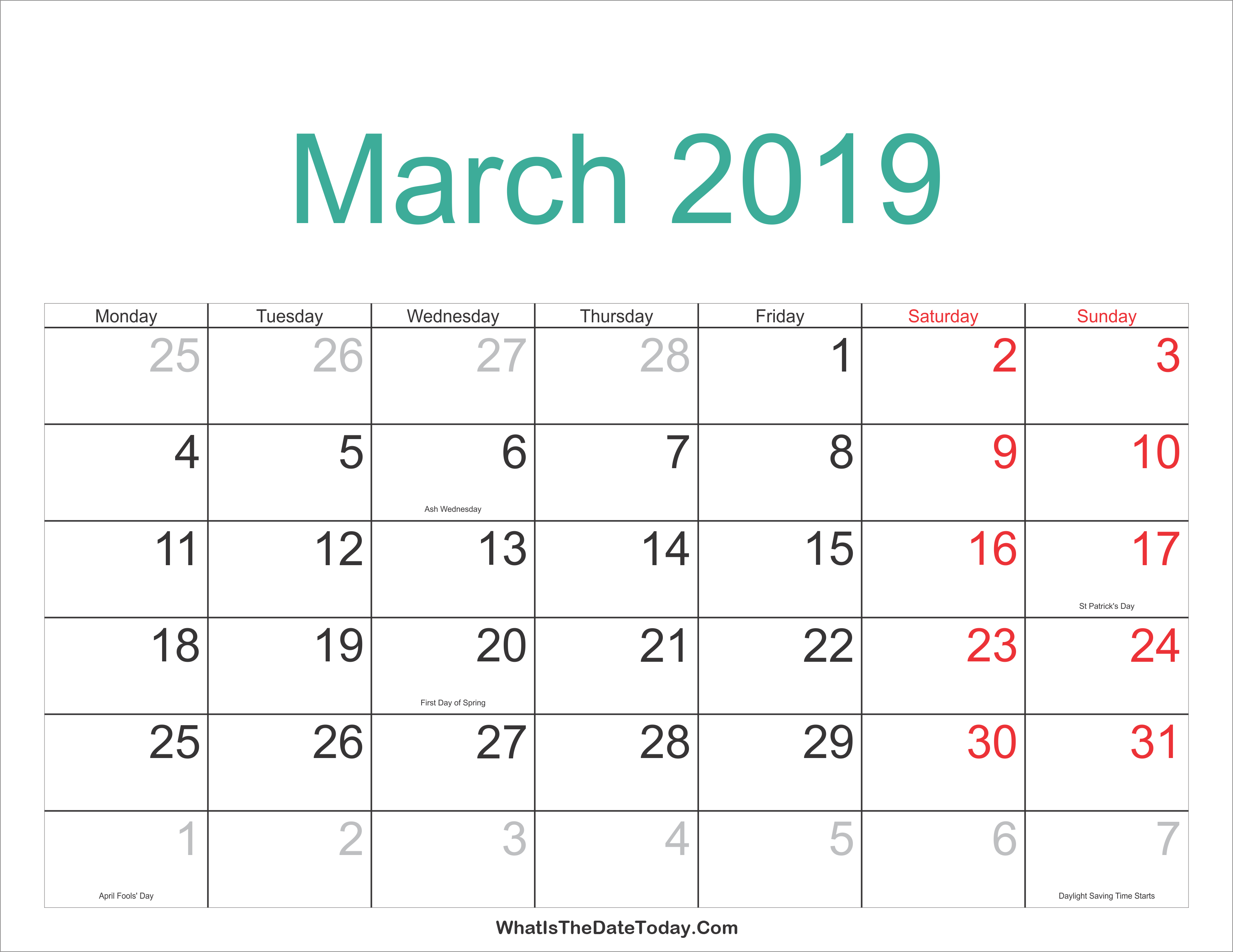 Printable 2019 Calendar New Zealand | Printable Calendar 2019
